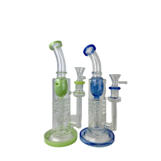 "GLASS BONG - RATCHETED TORUS RECYCLER 8"" (assorted colors)"