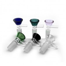 GLASS BOWL - SLIDE FUNNEL 14mm/18mm MALE (assorted colors)