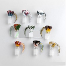 GLASS BOWL - W/SLIDE HEADY WIG WAG 14mm/18mm MALE (assorted colors)