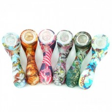 SILICONE HAND PIPE - GLOW IN DARK SHERLOCK PIPE WITH GLASS BOWL (assorted)