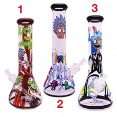 R&M ART GLASS WATER PIPE - GLOW IN THE DARK